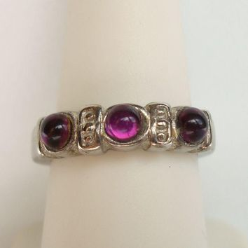 Triple Cabochon Glass Amethyst Coctail Ring Size 7.75 Vintage Jewelry