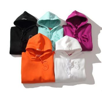 Supreme 2017 new couple Hip-Hop sup embroidered logo hooded multicolor plus cashmere sweater coat