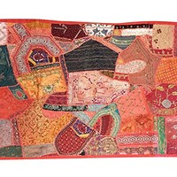 """Mogul Tuscan Decorative Embroidered Pink Wall Decor Patchwork Sari Tapestry Throw 60""""X 40 """""""