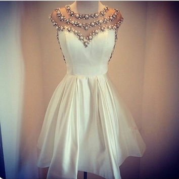 White Miniskirt Pearls Beaded Homecoming Dress