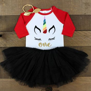 Red 3/4 Sleeve Raglan Shirt Unicorn 1st Birthday Outfit | Unicorn One 1st Birthday Black Tutu Skirt | Rainbow 1st Birthday