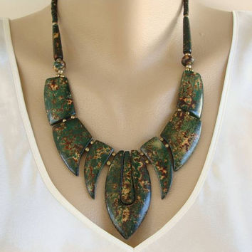 Retro Egyptian Modern Ceramic Fringe Necklace Abstract Vintage Jewelry