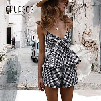 CHURSES Casual sleeveless bow plaid jumpsuit romper Summer backless two-piece playsuit Women sexy deep v neck beach overalls