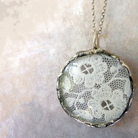 Antique French Floral Lace Necklace. Sterling Silver Chain. Round Glass Lens. Shabby Chic Lace Jewelry