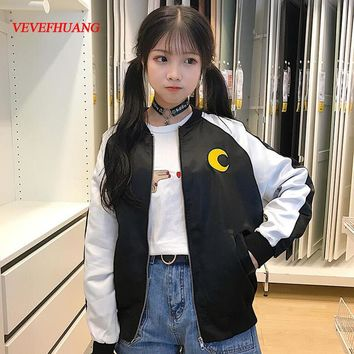 Japanese Soft Sister Preppy Style Sailor Moon Cartoon Embroidery Coats Harajuku BF Cute Cardigan Spring Women Bomber jackets