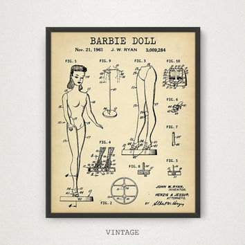 BARBIE DOLL Printable Patent Art Print Intsant Download Barbie Patent Diagram Digital Art Antique Barbie Doll wall Art Vintage Toys Poster