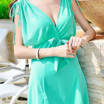 V Neck Sleeveless Bowknot Design Swimwear