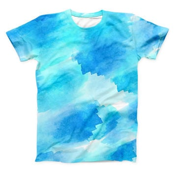 The Abstract Blue Stroked Watercolour ink-Fuzed Unisex All Over Full-Printed Fitted Tee Shirt