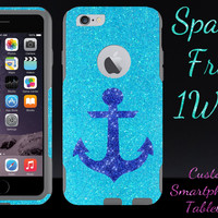 iPhone 6 Plus Case - OtterBox Commuter Series Custom Glitter Case for iPhone 6 Plus, Retail Packaging - Marine Anchor Frost/Grey (5.5 inch)
