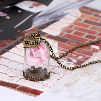 SUSENSTONE 2017 Antique Bronze Forever Rose Flower Glass Wish Bottle Necklace For Women Ladies Handmade Red Flower Necklaces
