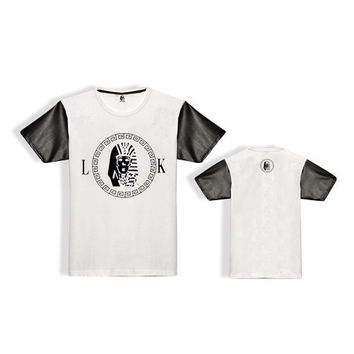 Last Kings Black Logo Leather Sleeve T-Shirt