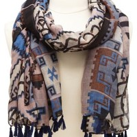 Tassel-Trimmed Tribal Print Scarf by Charlotte Russe - Dark Blue