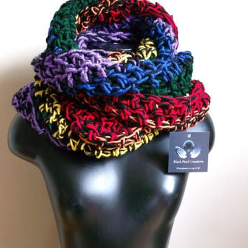 Rainbow Infinity Scarf, Chunky Scarf, Vegan Friendly, Cozy Scarf, Statement Piece, Bohemian Cowl