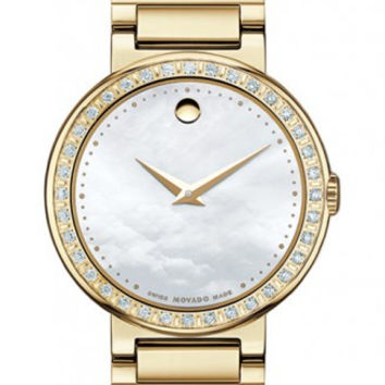 Movado Concerto Ladies Mother Of Pearl Museum Dial 30mm Stainless Steel Gold Tone Diamond Bezel Watch 0606422