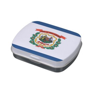 Patriotic candy tins with Flag of West Virginia