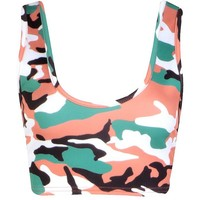 Bella Camo Basic Scoop Neck Bralet | Boohoo