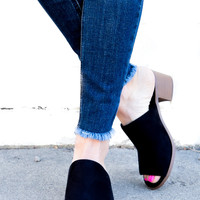 Peep Toe Black Sandal