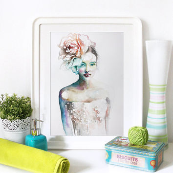 Watercolor Print. Wall art portrait of beautiful girl. Digital print.