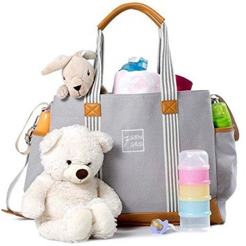 Diaper Bag for Girls and Boys - Large Capacity Baby Bag Plus Changing Pad, Stroller Straps and 10 Pockets - Best Baby Shower Gift