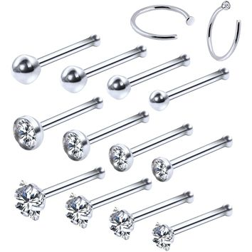 BodyJ4You 14PC Nose Hoop Rings 20G Stainless Steel Silver Nose Pin Bone Studs Piercing Jewelry