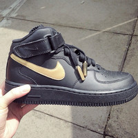 Black and Gold nike air force 1