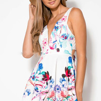 Strappy V-neck Floral Printed Hollow-out Bow Skater Mini Dress