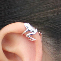The Froggy Prince Hugging Ear Cuffs ( Silver, Adjustable, No Piercing) - LilyFair Jewelry