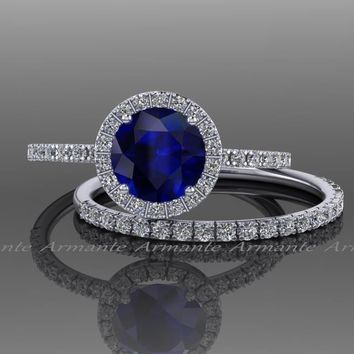 Blue and White Sapphire Wedding Ring Set.