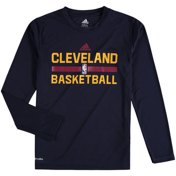 Cleveland Cavaliers adidas On Court Practice Long Sleeve climalite T-Shirt - Navy