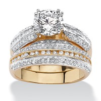2.55 TCW Cubic Zirconia 18k Gold over Sterling Silver Bridal Engagement Ring Wedding Band Set
