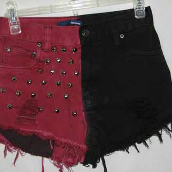 """summer clearance sale Black merlot Berry Vintage High Waisted Cut off Distressed Bleached two face Denim Shorts Studded 25"""" 26"""" XS S"""