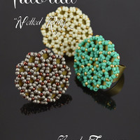 Netted ring - seed bead pattern, beadwoven ring tutorial, beading tutorial, beaded ring pattern / TUTORIAL ONLY