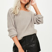 Missguided - Grey Off Shoulder Sweater
