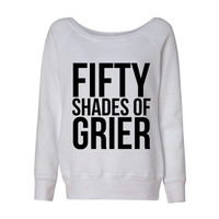 Fifty Shades of Grier Wideneck Slouchy Women's Sweatshirt Triblend White Fashion Grey Magcon Hayes Nash