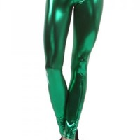 Metallic Leggings Kelly Green Leggings St Patrick's Day Leggings