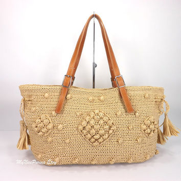 Gerard Darel Woodstock Raffia Style Tote Bag with Genuine Italian Leather Strap Handles /OATMEAL/, Straw Tote Bag, Beach Bag, Gift I