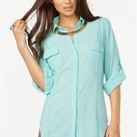A'GACI Button Front Bone Back Chiffon Shirt - TOPS