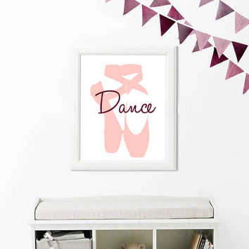 Girl Nursery Wall Art, Dance Print, Ballet Print, Girls Room Print, Printable Poster, Pink Decor, Modern Nursery, Dance Wall Art