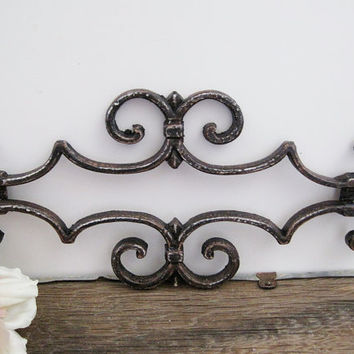 Black Wrought Iron Gate Piece Architectural Salvage Metal Ornate Wall Decor