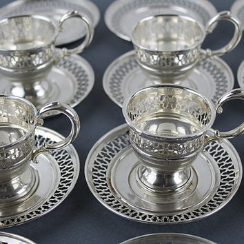 Sterling Silver Demitasse Cups and Saucers, 6 Cups and 12 Saucers