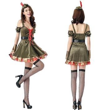 Halloween Costumes Adult Fancy Dress Ladies Robin Hin Cosplay Green Arrows Character Playing Clothes