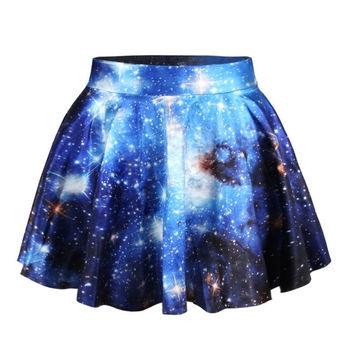 Womens Pleated Skirts Galaxy Space Printed Skirt Saia = 5739006529
