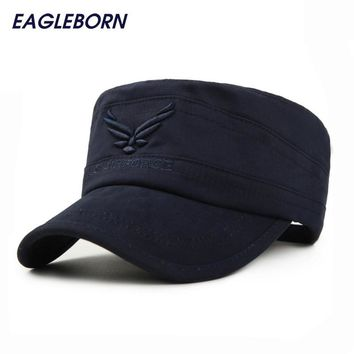 Brand New Eagleborn US AIR FORCE Breathable Cotton Army Captain Tactical hats for men Vintage Flat Roof Military Caps