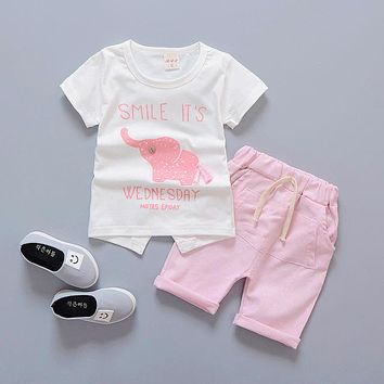 Abacaxi Kids Smile It's Wednesday Pink Elephant Outfit 3-24M