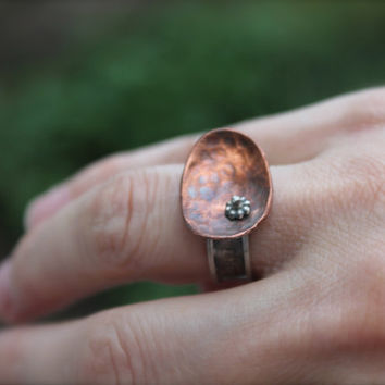 Sterling Silver Copper Ring. small flower. abstract ring. Hammered copper. hand stamped words.