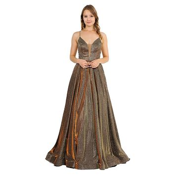 Bronze Glitter Long Prom Dress with Strappy Back