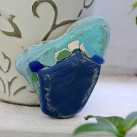 Painted Stone Heart , Natural Surf Tumbled Rock from Lake Erie , One of a Kind Art , Beach Theme Wedding