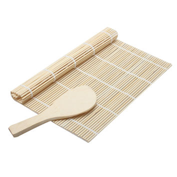 1 Set Sushi Rolling Mat Roller Bamboo Material Mat Maker DIY And A Rice Paddle Sushi Tools Cooking tool