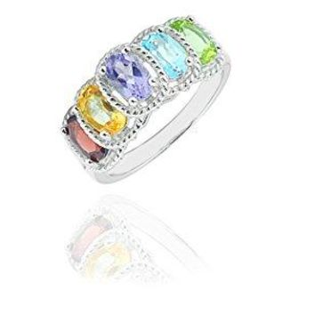 NYC Sterling Women Silver Genuine Gemstone Multi Color Oval Fancy Ring