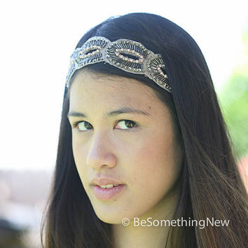 Bohemian beaded tie headband, women hair accessories